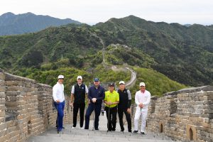 Zhang Lianwei, Wu Ashun, Li Haotong, Thorbjorn Olesen, Chris Wood and Thomas Bjorn make a celebratory start at the Great Wall of China on 25 April in advance of the Volvo China Open at Topwin Golf and Country Club, Beijing, China. Mandatory credit: Richard Castka/Sportpixgolf.com